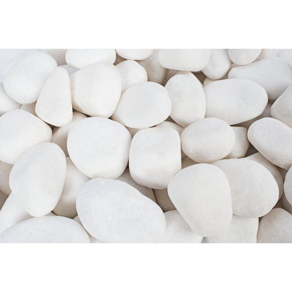 0.5 in. to 1.5 in., 20 lb. Small Snow White Pebbles